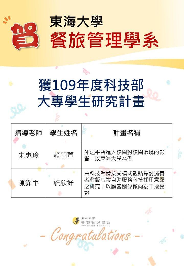 恭賀!!獲109年度大專學生研究計畫